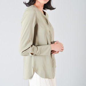 BRUNELLO CUCINELLI GREEN SILK DRESS SHIRT W/ JEWEL